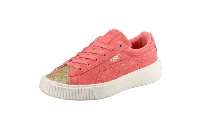 Basket Suede Platform Glam pour fille Couleur Puma Team Gold-Shell Pink