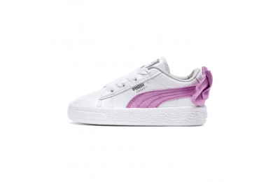 Basket Bow Patent Preschool pour fille Couleur Puma White-Orchid-Gray