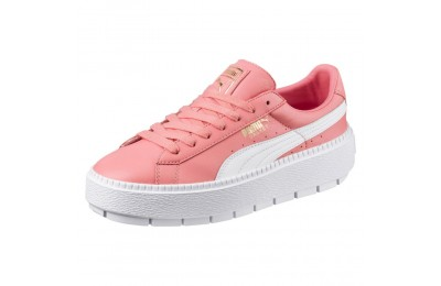 Basket Platform Trace Leather pour femme Couleur Shell Pink-Puma White