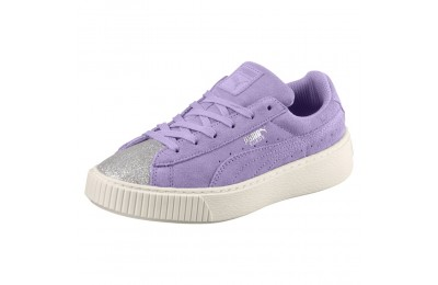 Basket Suede Platform Glam pour fille Couleur Puma Silver-Purple Rose