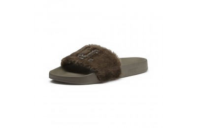 Sandale FENTY Unisex Fur Slide Couleur Burnt Olive-Puma Black