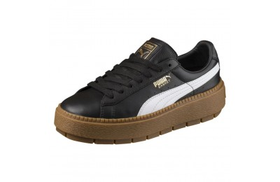 Basket Platform Trace Leather pour femme Couleur Puma Black-Puma White