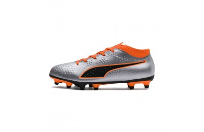 Chaussure de foot PUMA ONE 4 Synthetik FG pour enfant Couleur Silver-Orange-Black