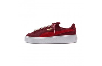 Basket Suede Platform Bling pour femme Couleur Pomegranate-Ribbon Red
