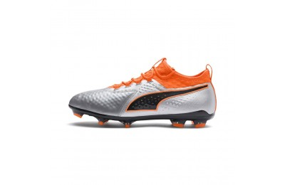 Chaussure de foot PUMA ONE 2 en cuir FG Couleur Silver-Orange-Black