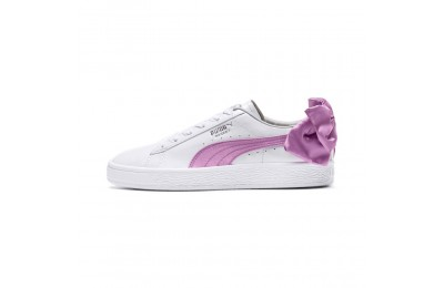 Basket Bow Patent pour fille Couleur Puma White-Orchid-Gray