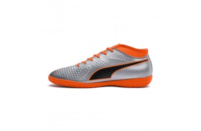 Chaussure de foot PUMA ONE 4 synthétique IT Couleur Silver-Orange-Black