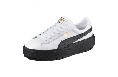 Basket Platform Trace Leather pour femme Couleur Puma White-Puma Black