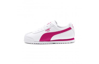 Basket Roma Basic PS pour enfant Couleur Puma White-Fuchsia Purple