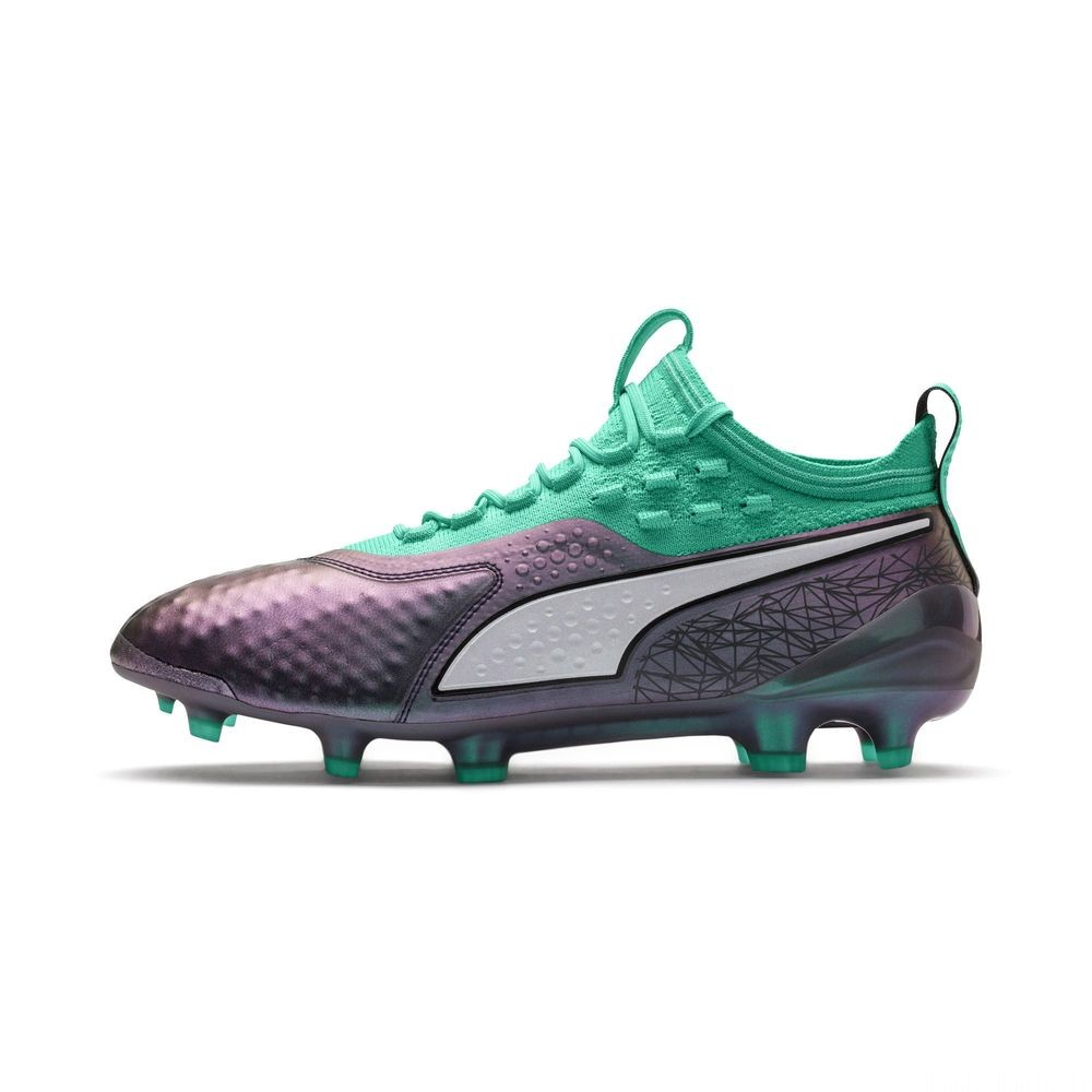 Chaussure de foot PUMA ONE 1 ILLUMINATE FG/AG pour homme Couleur Col Shift-Green-White-Black