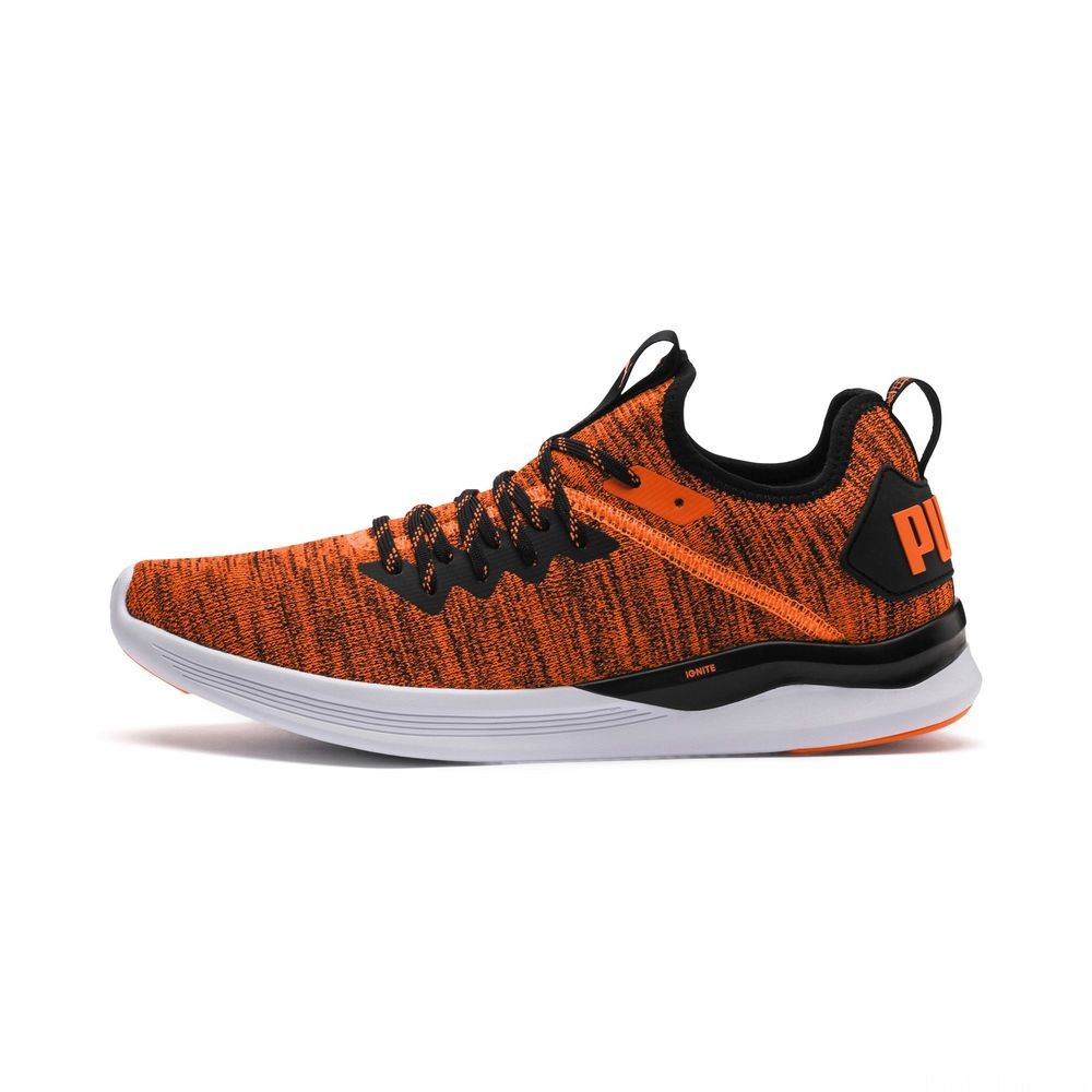 Chaussure de course IGNITE Flash evoKNIT Unrest pour homme Couleur Shocking Orange-Puma Black