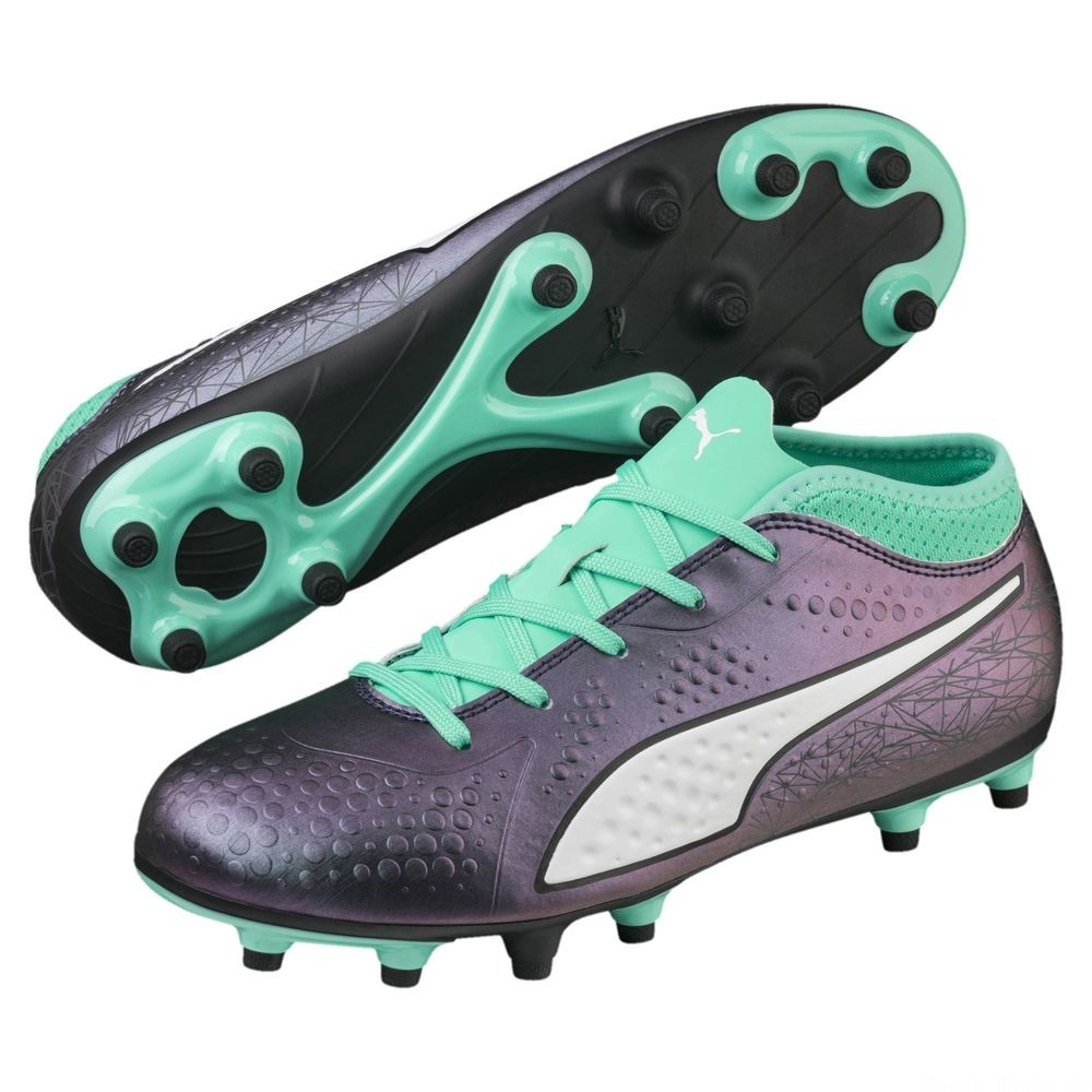 Chaussure de foot ONE 4 ILLUMINATE Synthetik FG pour enfant Couleur Col Shift-Green-White-Black