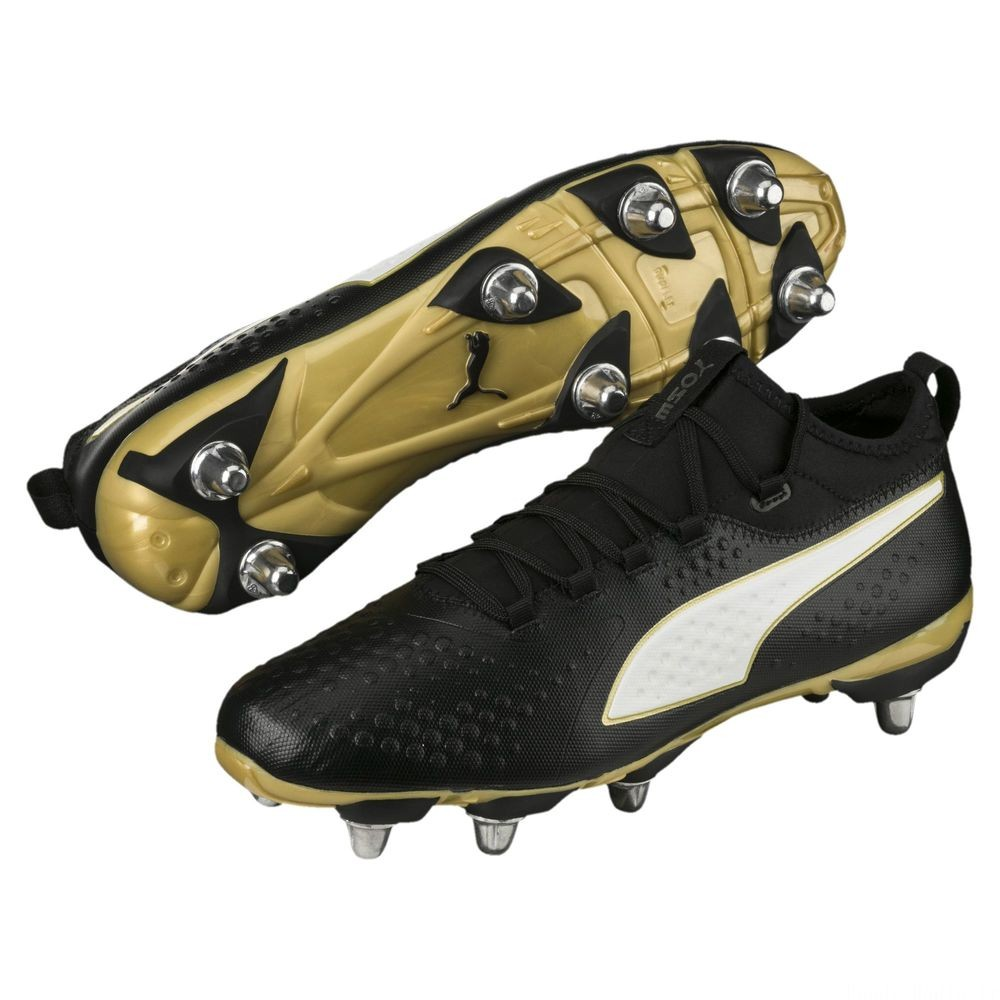 Chaussure de rugby PUMA ONE H8 pour homme Couleur Black-White-Gold