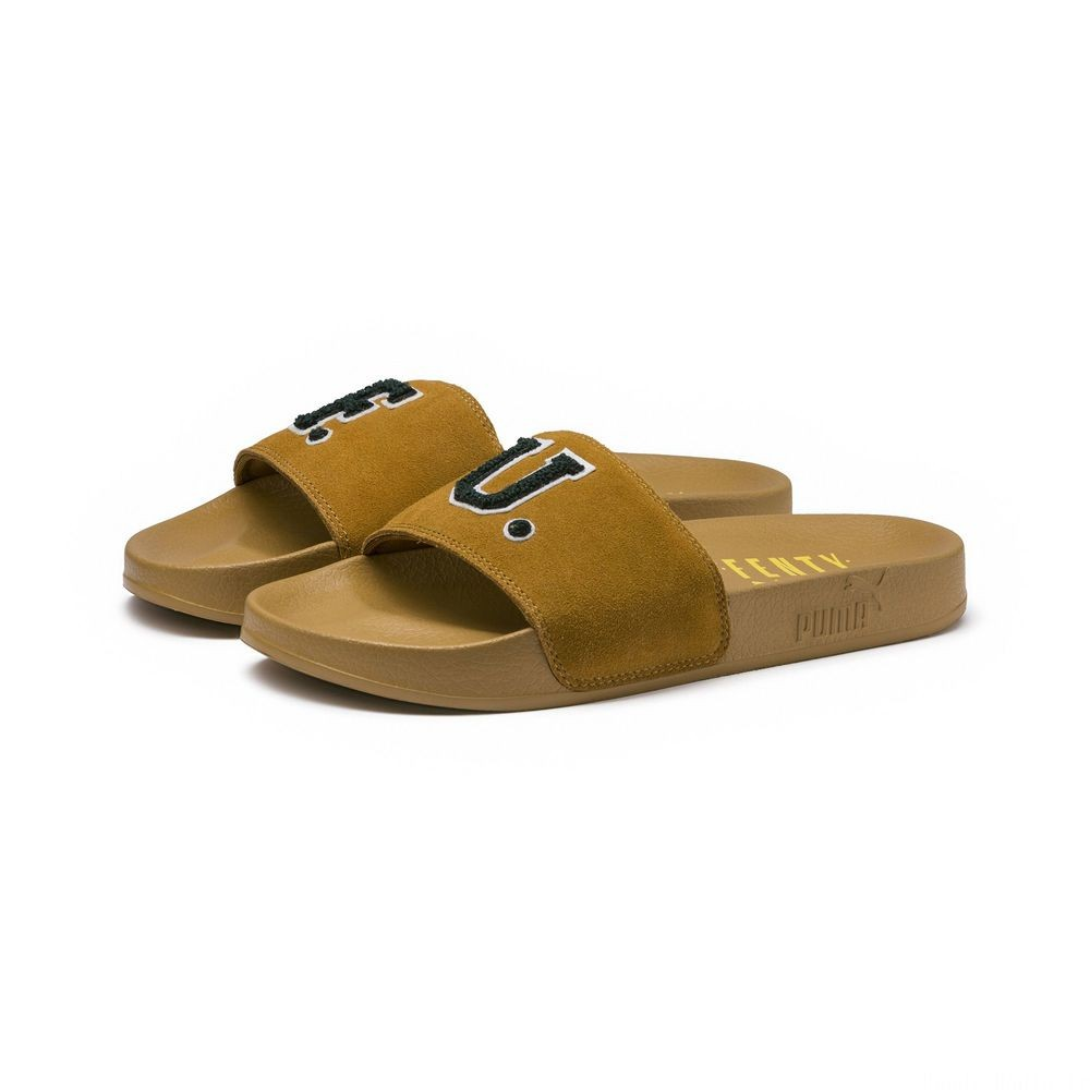Sandales FENTY Suede Slide Unisex Couleur Golden Brown-Scarab