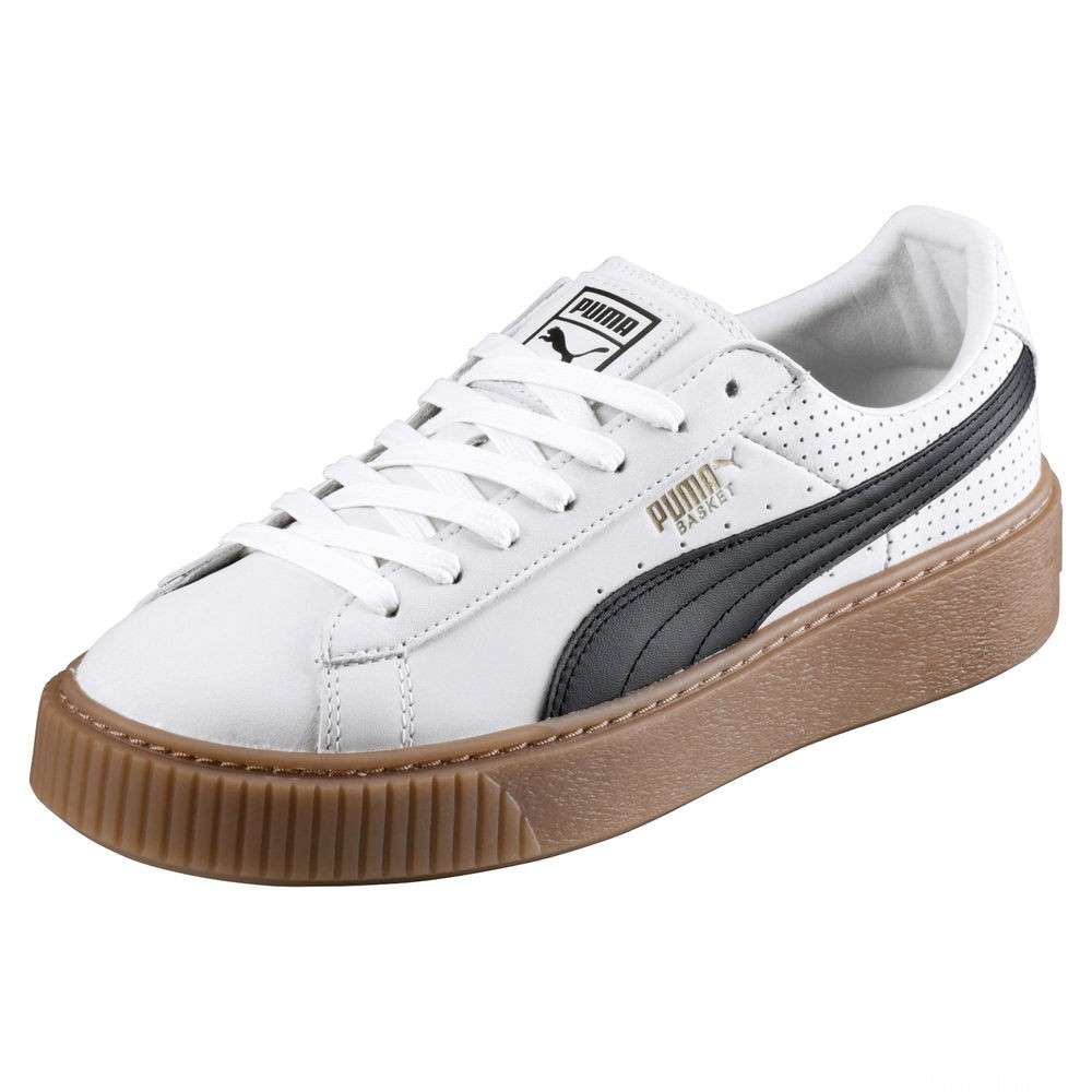 Chaussure Basket Platform Couleur Puma White-Puma Black-Gold