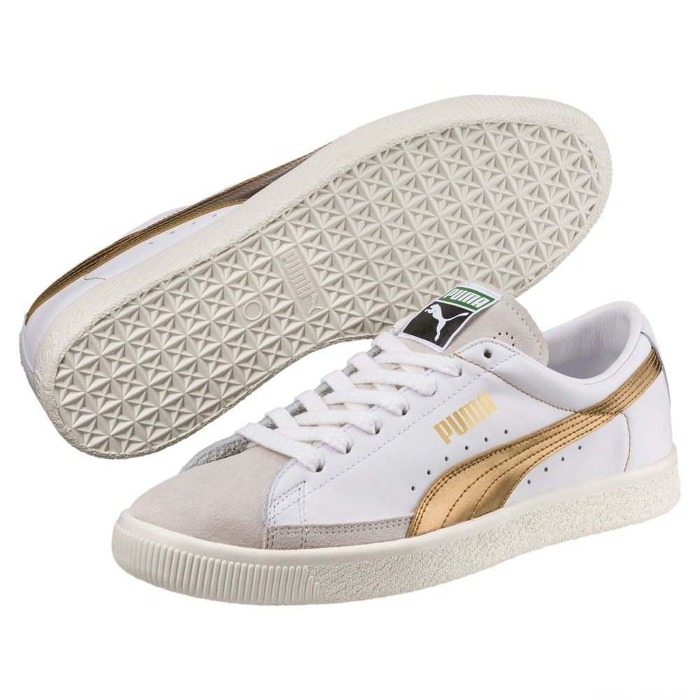 Basket 90680 Gold Couleur Puma White- Gold- Gold