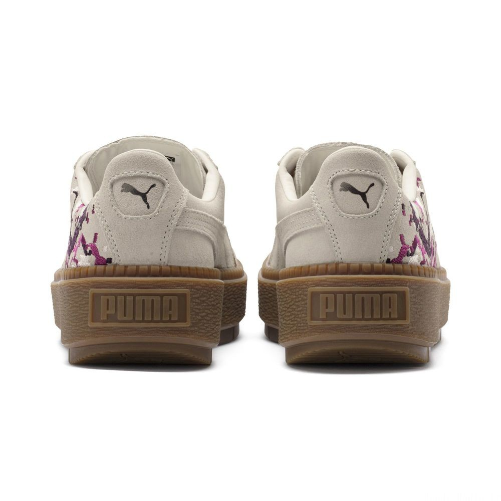 Basket Suede Platform Digital Embroidery pour femme Couleur Whisper White-Whisper White