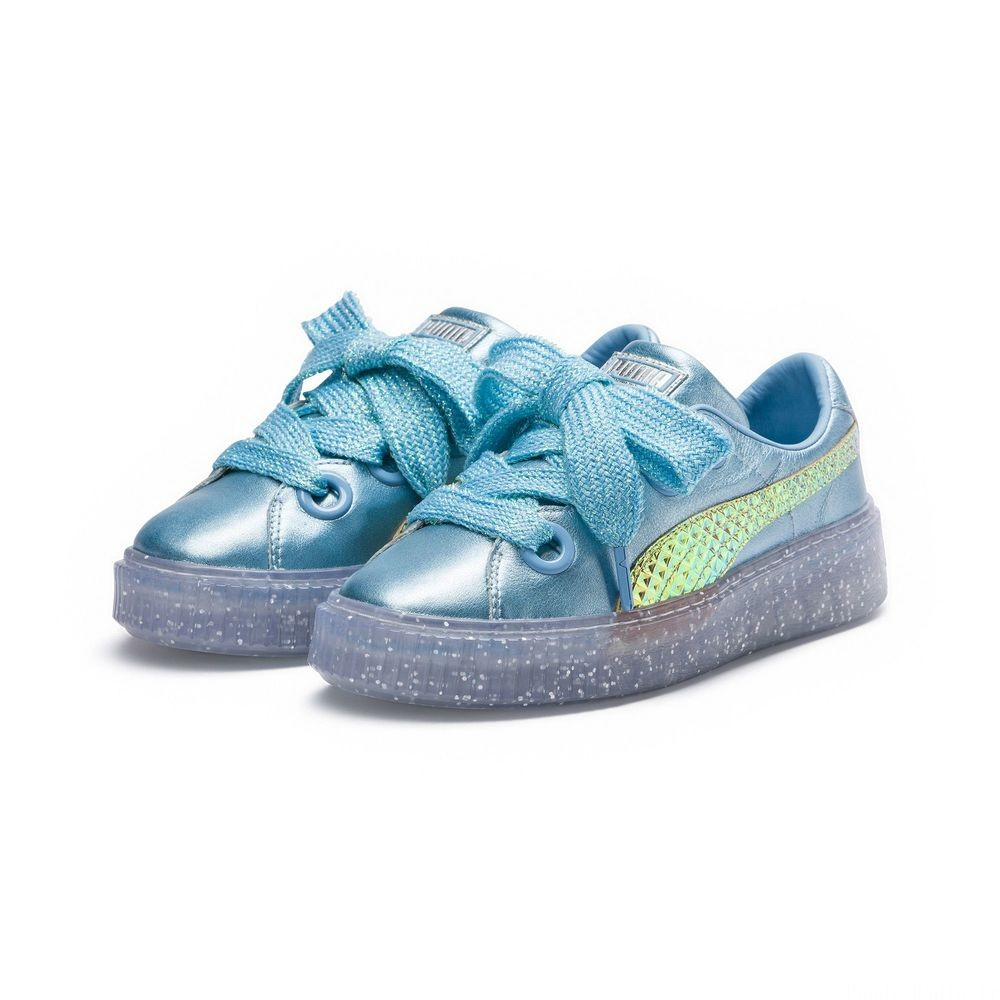 Basket PUMA x SOPHIA WEBSTER Platform Glitter Princess pour femme Couleur Metallic Blue-Fluo Orange