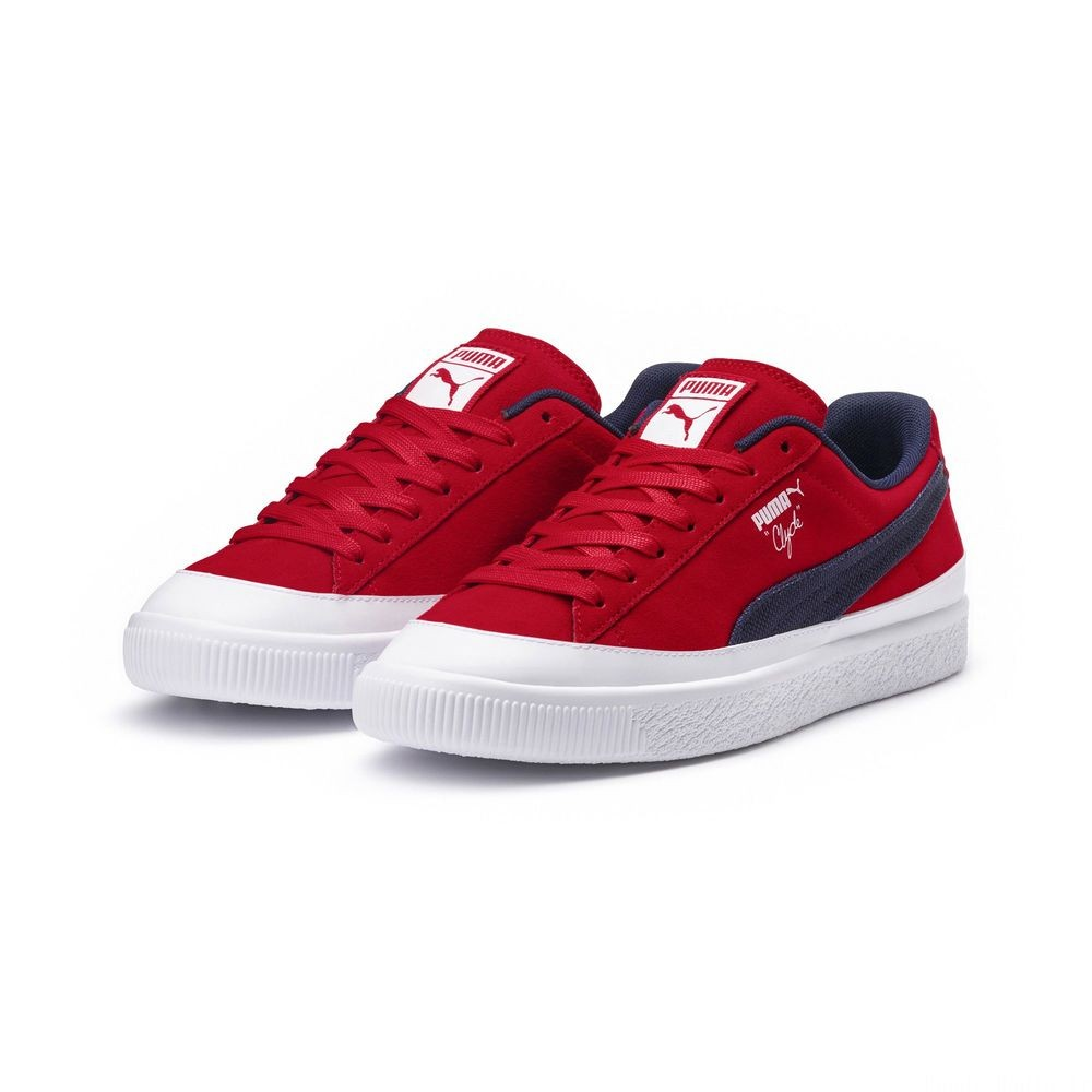 Basket Clyde Rubber Toe Couleur Ribbo Red-Peacoat-PWhite