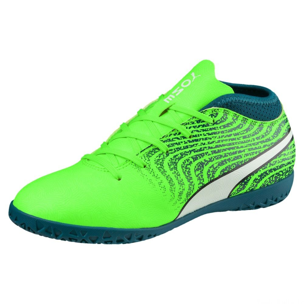 PUMA ONE 18.4 IT pour enfants Couleur Green-White-Deep Lagoon