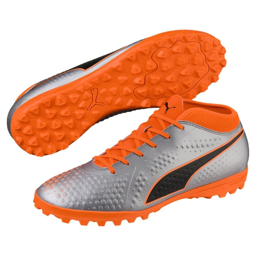 Chaussure de foot PUMA ONE 4 Synthetik TT pour homme Couleur Silver-Orange-Black